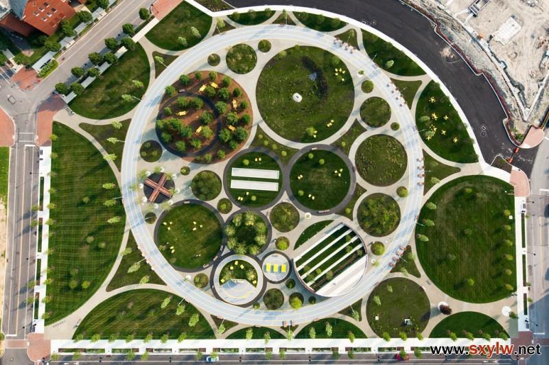 景观设计:以圆形图案为主要形式语言的运动健身公园