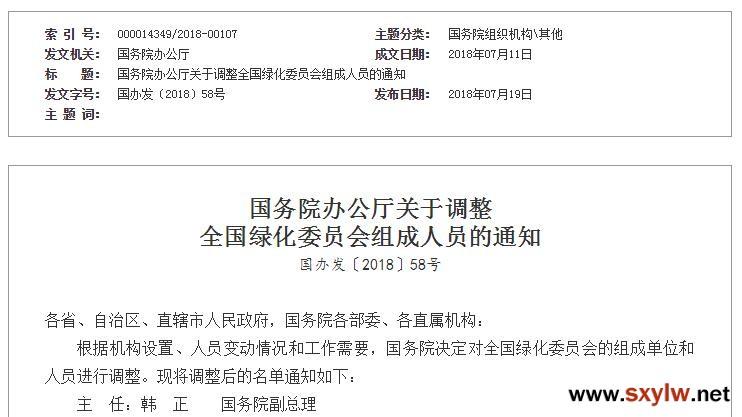 国务院办公厅关于调整全国绿化委员会组成人员的通知