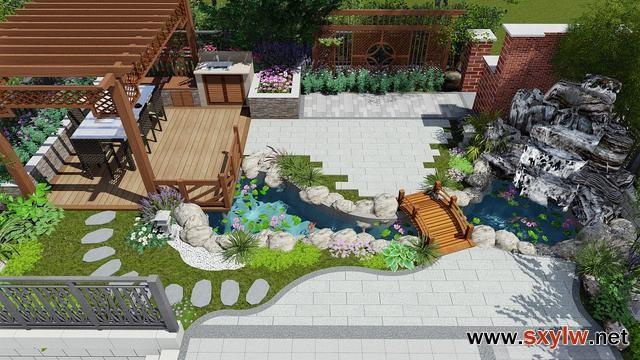 小型庭院设计假山+凉亭+水体